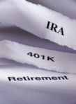 401K, IRA and Retirement - words on slips of paper